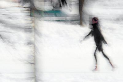 On A Frozen Pond Art Print by Denis Bouchard
