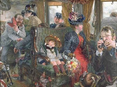 On A Journey To Beautiful Countryside Art Print by Adolph Friedrich Erdmann von Menzel