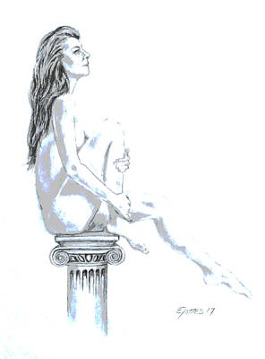Drawing - On A Pedestal by Edgar Torres