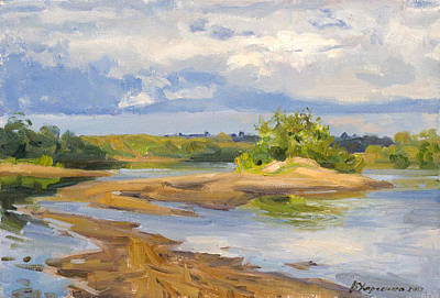 Beach Landscape Painting - On  A Sandy Shallow by Victoria Kharchenko