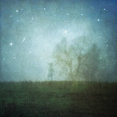 On A Starry Night, A Boy And His Tree Art Print