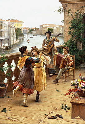 On A Venetian Balcony Print by Antonio Paoletti