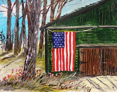 Old Glory Drawing - On A Veteran's Barn by John Williams