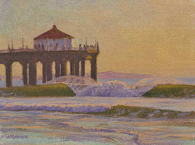 Surfing Art Painting - On A Warm Winter Evening by Joe Mancuso