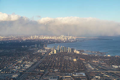 Photograph - On Approach - Flying Over Toronto by Georgia Mizuleva
