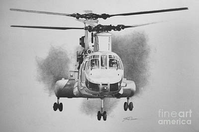 Helicopter Drawing - On Approach by Stephen Roberson