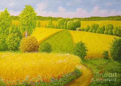 Meadow Painting - On August Grain Fields by Veikko Suikkanen