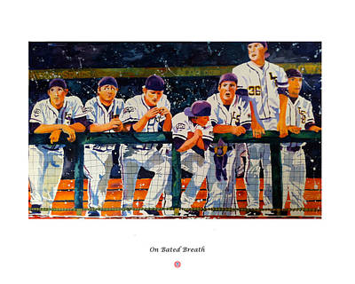 Baseball Painting - On Bated Breath by Judy Hanks