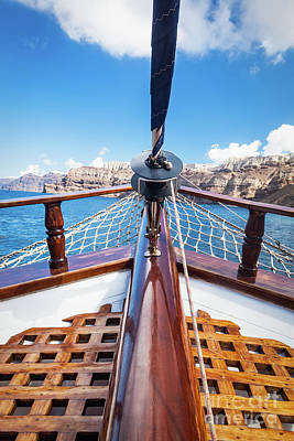 Navigation Photograph - On Board View From A Traditional Ship Cruising On Aegean Sea Next To Santorini Island by Michal Bednarek