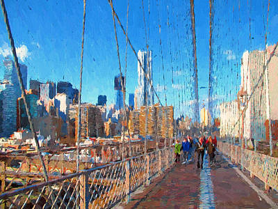 Digital Art - on Brooklyn Bridge NYC by Yury Malkov