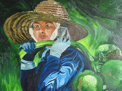 On Coconut Farm Art Print by Akhilkrishnajayanth