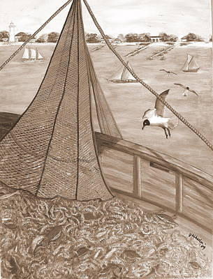 Net Painting - On Deck Black And White by JoAnn Wheeler