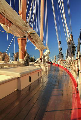 Sailboat Photograph - On Deck Of The Schooner Eastwind by Roupen  Baker