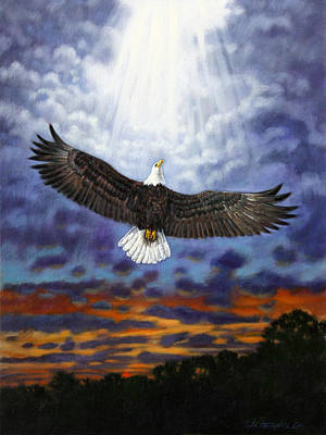 On Eagles Wings Art Print by John Lautermilch