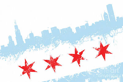 Chicago Skyline Digital Art - Chicago Flag Lean by Mike Maher