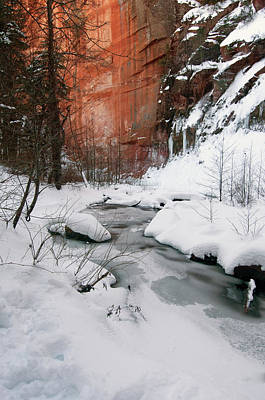 Photograph - On Exhibit 16x20 Canvas - West Fork Snow 010215-1703-1 by Tam Ryan
