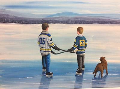 Buffalo Sabers Painting - On Frozen Pond  Buffalo  by Ron Genest