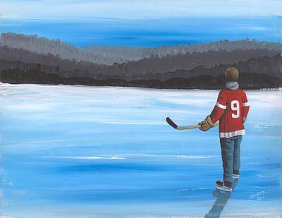 Mr. Hockey Painting - On Frozen Pond - Gordie by Ron Genest