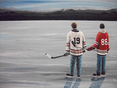 Pond Hockey Painting - On Frozen Pond - Kane And Toews by Ron Genest