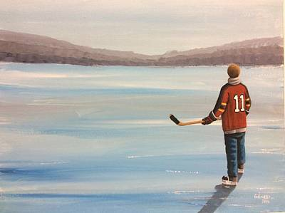 Pond Hockey Painting - On Frozen Pond - Panther by Ron Genest