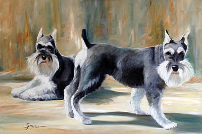Miniature Schnauzer Painting - On Guard by Mary Sparrow