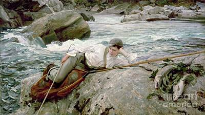 Angling Painting - On His Holidays by John Singer Sargent