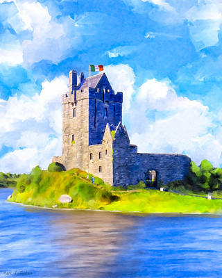Mixed Media - On Irish Shores - Dunguaire Castle by Mark Tisdale