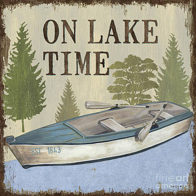 Colorful Boats Wall Art - Painting - On Lake Time by Debbie DeWitt