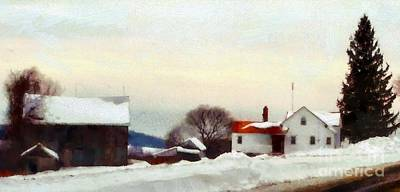 Old Country Roads Photograph - On My Way Home - Winter Farmhouse by Janine Riley