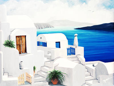 Chimney Painting - On Oia, Santorini - Prints Of Original Oil Painting by Mary Grden's Baywood Gallery
