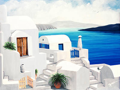 Umbrella Painting - On Oia, Santorini - Prints Of Original Oil Painting by Mary Grden Fine Art Oil Painter Baywood Gallery