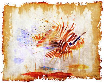Lionfish Painting - Lionfish On Parchment Paper by Ken Figurski