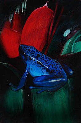 Blue And Red Painting - On Safari - Poison Dart Frog by Carrie Jackson
