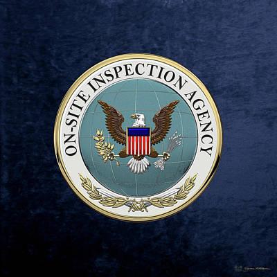 Digital Art - On-site Inspection Agency -  O S I A  Seal Over Blue Velvet by Serge Averbukh