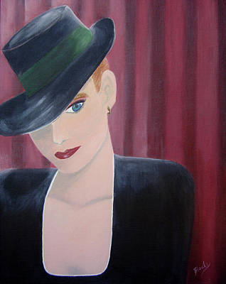 Fedora Painting - On Stage by Donna Blackhall