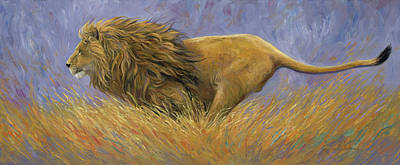 Lion Painting - On Target by Lucie Bilodeau