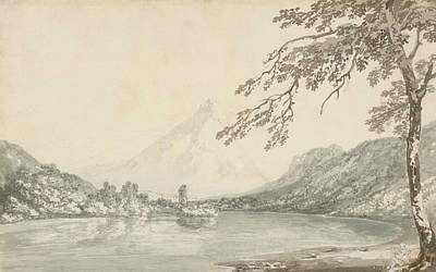 Swiss Landscape Painting - On The Aar Between Unterseen And Lake Of Brienz  by Joseph Mallord William Turner