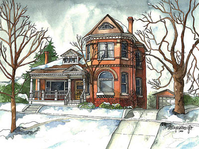 Snowscape Painting - On The Avenue by Shelley Wallace Ylst
