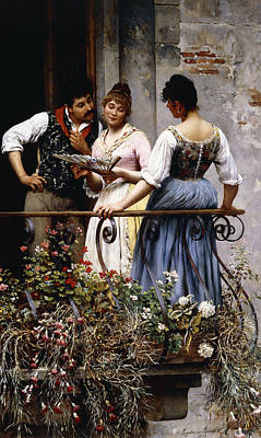 Silk Painting - On The Balcony  by Eugen von Blaas