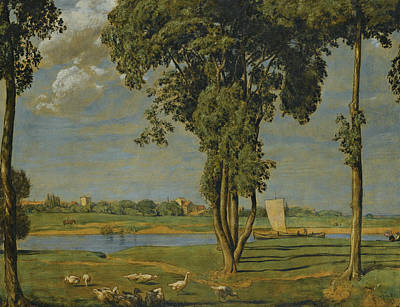 Painting - On The Banks Of The River Main by Treasury Classics Art