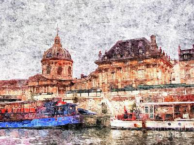 The Church Mixed Media - on the banks of the Seine by Yury Bashkin