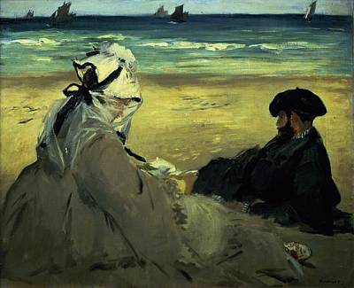 Beret Painting - On The Beach by Edouard Manet