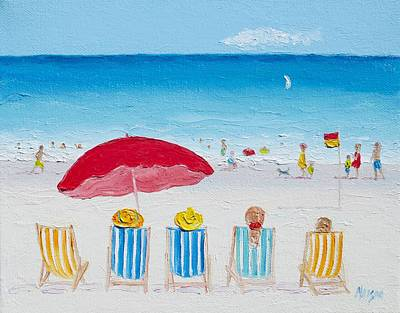 Deck-chairs Painting - On The Beach by Jan Matson