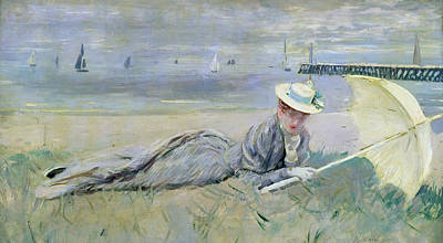 Beach Oil Painting - On The Beach  by Paul Cesar Helleu