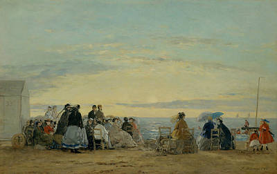 On The Beach, Sunset Art Print by Eugene Boudin