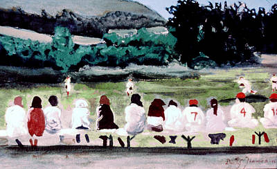 Baseball Scene Painting - On The Bench by David Zimmerman
