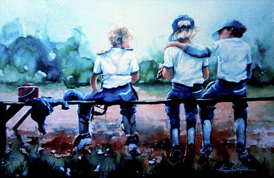 Kids Sports Art Painting - On The Bench by Hanne Lore Koehler