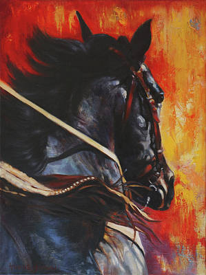Western Bridle Painting - On The Black by Harvie Brown