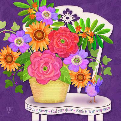 On The Bright Side - Flowers Of Faith Art Print by Valerie Drake Lesiak