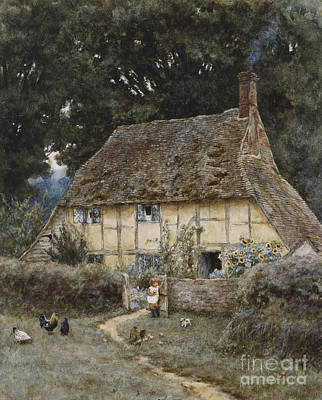Cockerel Painting - On The Brook Road Near Witley by Helen Allingham